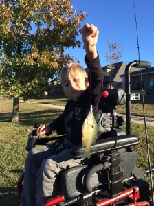 THIS POWER CHAIR IS GREAT FOR WHEN I GO FISHING…THANKS SO MUCH TO MISS KRISTA AND HER FAMILY FOR GIVING IT TO ME!